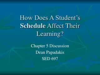 How Does A Student s Schedule Affect Their Learning