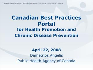 Canadian Best Practices Portal for Health Promotion and Chronic ...