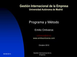Gesti n Internacional de la Empresa      Universidad Aut noma de Madrid