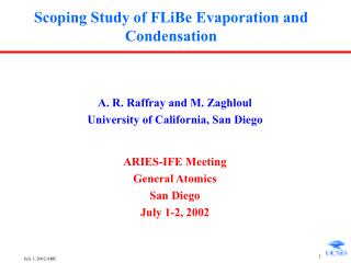 Scoping Study of FLiBe Evaporation and Condensation