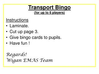 Transport Bingo for up to 6 players