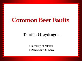 Common Beer Faults