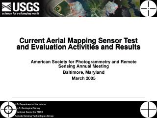 Current Aerial Mapping Sensor Test and Evaluation Activities and Results
