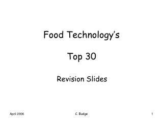 Food Technology s  Top 30