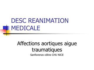 DESC REANIMATION MEDICALE