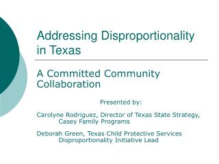 Addressing Disproportionality in Texas