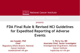 FDA Final Rule  Revised NCI Guidelines for Expedited Reporting of Adverse Events