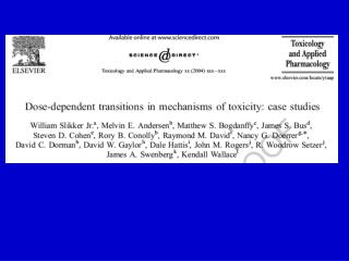 Case-Studies of Dose-Dependent Transitions in Toxicology
