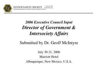 2006 Executive Council Input Director of Government   Intersociety Affairs