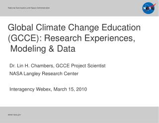Global Climate Change Education GCCE: Research Experiences,  Modeling  Data