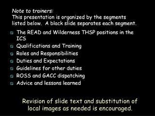 Note to trainers: This presentation is organized by the segments listed below.  A black slide separates each segment.