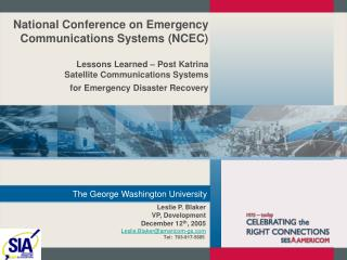 National Conference on Emergency Communications Systems NCEC ...