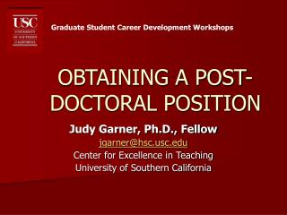 OBTAINING A POST-DOCTORAL POSITION
