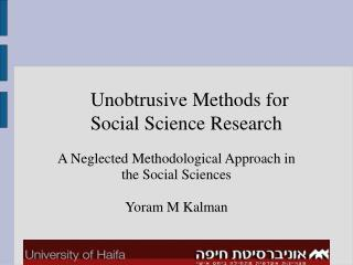 Unobtrusive Methods for Social Science Research
