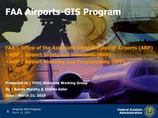 FAA  Office of the Associate Administrator of Airports ARP ARP  Airport Safety and Standards AAS ARP  Airport Planning a