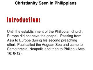 Christianity Seen In Philippians