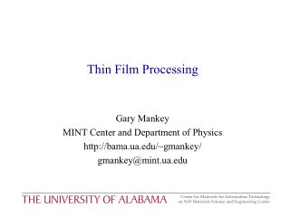 Thin Film Processing