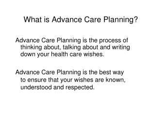 What is Advance Care Planning