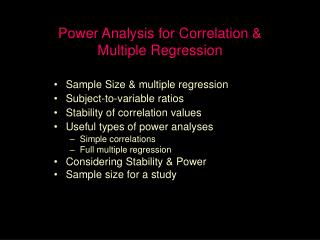 Power Analysis for Correlation   Multiple Regression