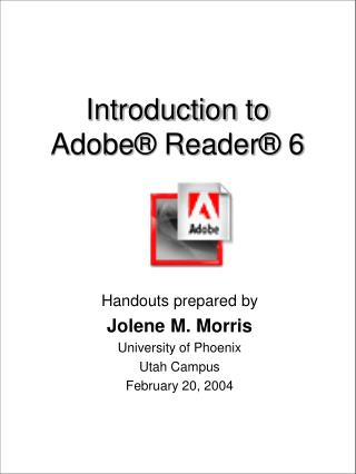 Introduction to Adobe  Reader  6