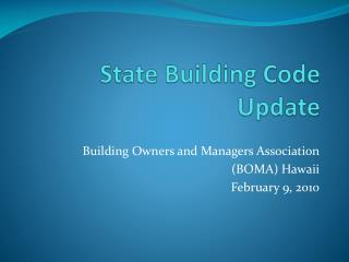 State Building Code Update