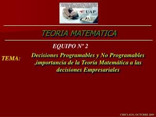 TEORIA MATEMATICA