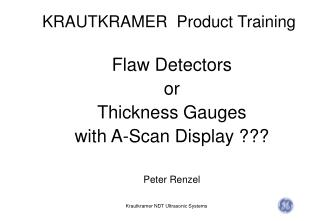 KRAUTKRAMER  Product Training