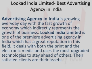 Lookad India Limited - Advertising Agency in India