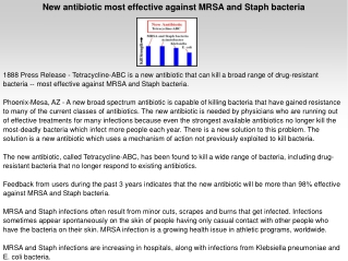 New antibiotic most effective against MRSA