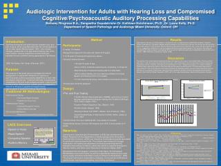 Audiologic Intervention for Adults with Hearing Loss and Compromised Cognitive