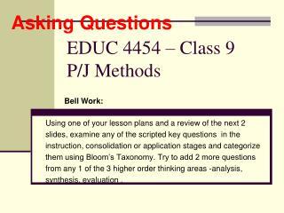 EDUC 4454   Class 9 P