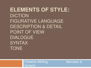 Elements of Style: Diction Figurative Language Description  Detail Point of View Dialogue Syntax Tone