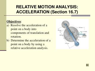 Objectives: a  Resolve the acceleration of a point on a body into components of translation and rotation. b  Determine t