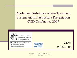 Adolescent Substance Abuse Treatment System and Infrastructure Presentation COD Conference 2007