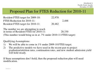 Proposed Plan for FTES Reduction for 2010-11