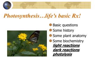 Photosynthesis life s basic Rx