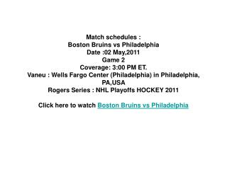 watch game 2 boston bruins vs philadelphia flyers live strea