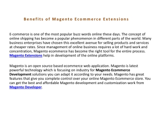 Benefits of Magento Ecommerce Extensions