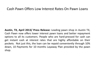 Cash Pawn Offers Low Interest Rates On Pawn Loans