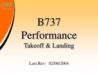 B737 Performance Takeoff  Landing