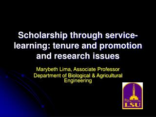 Scholarship through service-learning: tenure and promotion and research issues