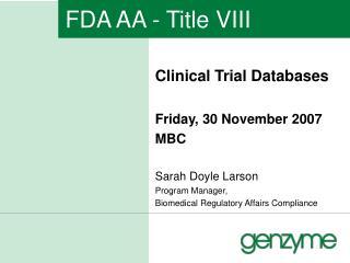 FDA AA - Title VIII