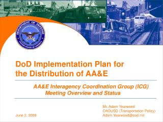 DoD Implementation Plan for the Distribution of AAE