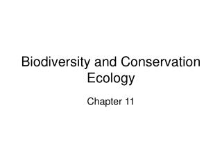 Biodiversity and Conservation Ecology