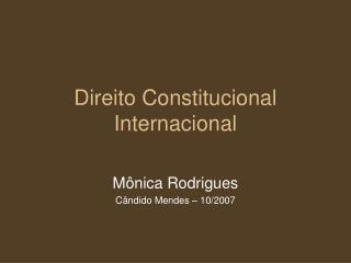 Direito Constitucional Internacional