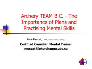 Archery TEAM B.C. - The Importance of Plans and Practising Mental Skills