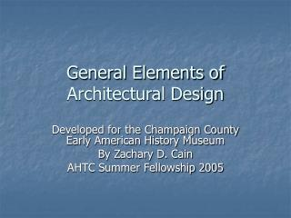 General Elements of Architectural Design