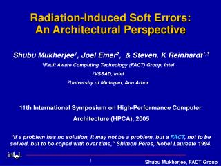 Radiation-Induced Soft Errors:  An Architectural Perspective