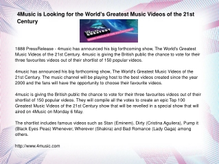 4Music is Looking for the World's Greatest Music Videos of t