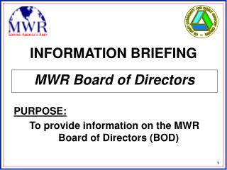 INFORMATION BRIEFING